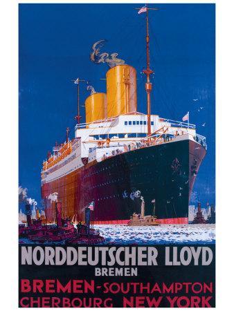 BREMEN NEW YORK SHIP LINER GERMANY Vintage Travel Canvas art Prints