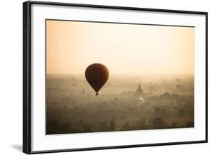 Aerial View of Balloon over Ancient Temples of Bagan at Sunrise in Myanmar by Harry Marx