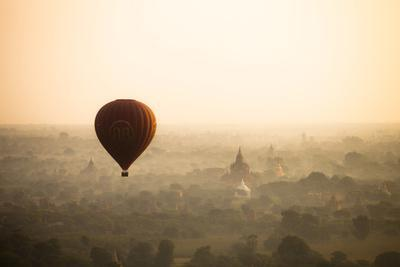 Aerial View of Balloon over Ancient Temples of Bagan at Sunrise in Myanmar