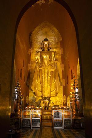 Golden Buddha Statue at Ananda Temple in Bagan, Myanmar