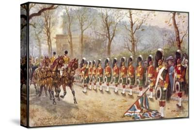 Detachment of Gordon Highlanders Dip the Colours to Passing Royalty Near Buckingham Palace