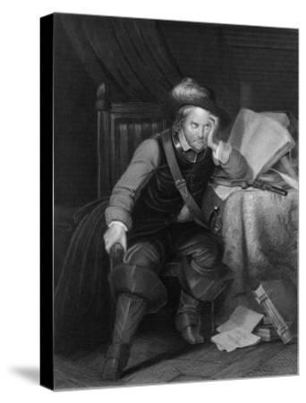 Oliver Cromwell English Soldier and Statesman Sits at a Desk Looking Very Disgruntled