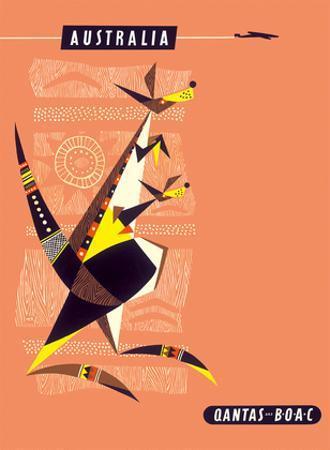 Australia - Kangaroo and Baby by Harry Rogers