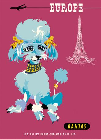 Europe - Paris - Qantas Empire Airways - Blue Poodle by Harry Rogers
