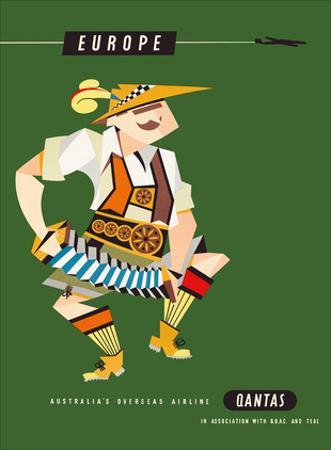 Europe - Qantas Empire Airways (QEA) - Bavarian Concertina Musician in Lederhosen by Harry Rogers