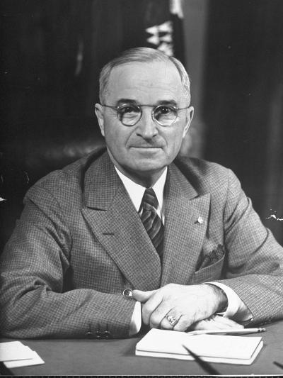 Harry S. Truman Sitting at Desk-Marie Hansen-Photographic Print