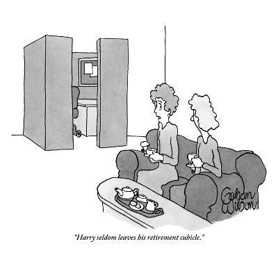 """Harry seldom leaves his retirement cubicle."" - New Yorker Cartoon-Gahan Wilson-Premium Giclee Print"
