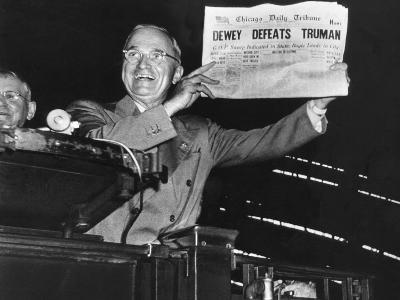 "Harry Truman Jubilantly Displaying Erroneous Chicago Daily Tribune Headline ""Dewey Defeats Truman""-W^ Eugene Smith-Photographic Print"