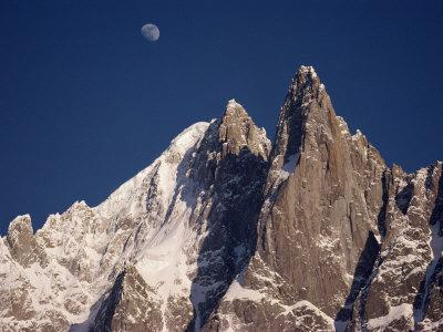 Jagged Peak of Aiguille Du Dru and the Moon, Chamonix, Rhone Alpes, France, Europe