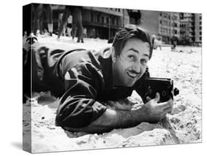 Film Maker Walt Disney Filming on Brazilian Beach by Hart Preston