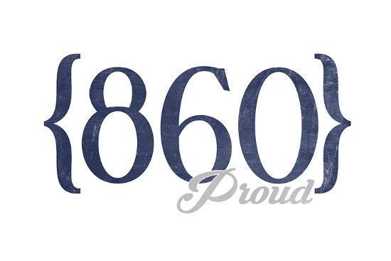 Hartford, Connecticut - 860 Area Code (Blue)-Lantern Press-Art Print