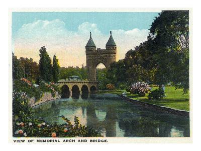 Hartford, Connecticut - Bushnell Park Memorial Arch and Bridge Scene-Lantern Press-Art Print