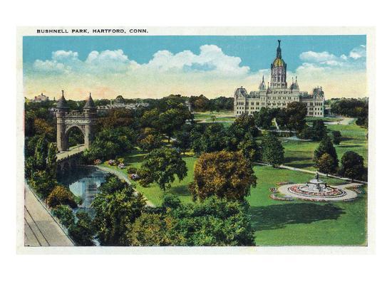 Hartford, Connecticut - Bushnell Park Scene-Lantern Press-Art Print