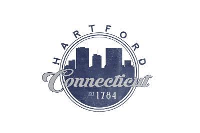 Hartford, Connecticut - Skyline Seal (Blue)-Lantern Press-Art Print
