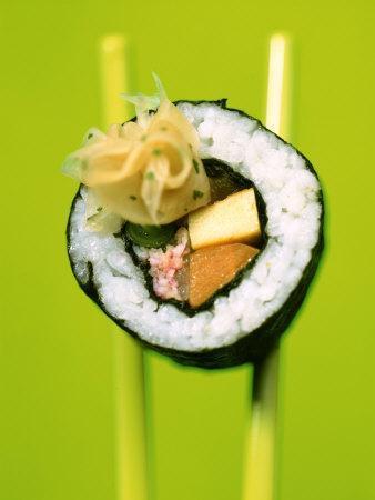Maki-Sushi with Crabmeat, Scrambled Egg and Tuna