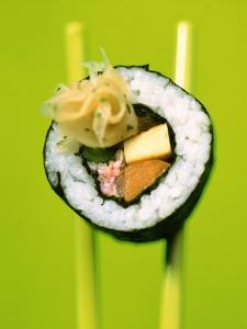 Maki-Sushi with Crabmeat, Scrambled Egg and Tuna by Hartmut Kiefer