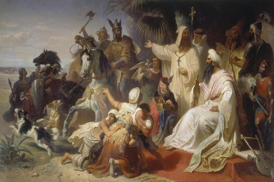 Harun Ar-Raschid Receives the Envoy of Charlemagne-Julius Köckert-Giclee Print