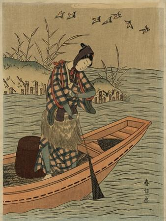 Fisherwoman in Boat, 1925 by Harunobu Suzukii