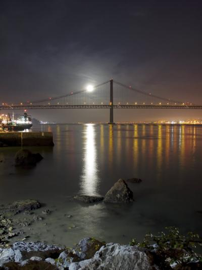 Harvest Moon Sets over the Tagus River and the City of Lisbon, Portugal--Photographic Print