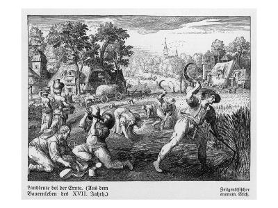 Harvest Scene in 17th Century Germany--Giclee Print