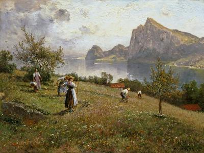Harvesters by the Chiemsee, 1912-Joseph Wopfner-Giclee Print