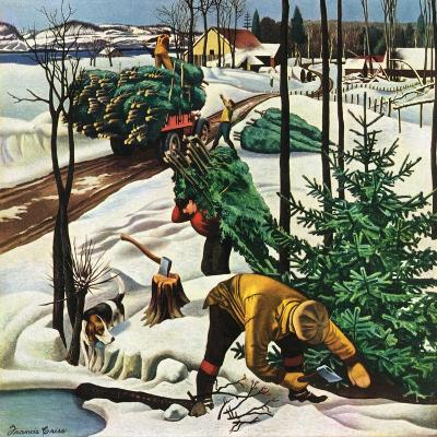 """""""Harvesting Christmas Trees,""""December 1, 1942-Francis Chase-Giclee Print"""