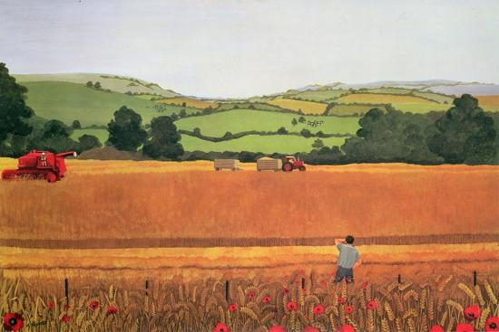 Harvesting in the Cotswolds-Maggie Rowe-Premium Giclee Print