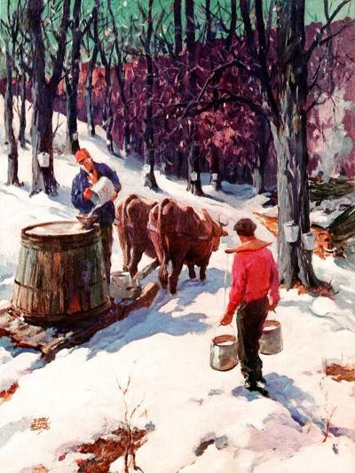 """""""Harvesting Maple Sap,""""March 1, 1940-B. Summers-Giclee Print"""
