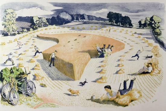 Harvesting, Printed at the Baynard Press, for School Prints Ltd.-John Northcote Nash-Giclee Print
