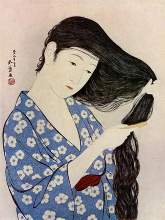 A Japanese woman combing her hair, 1920 (1930).Artist: Hashiguchi Goyo