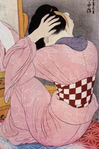 A Japanese Woman Dressing Her Hair, 1920S by Hashiguchi Goyo
