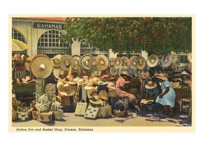 Hat and Basket Stand, Nassau, Bahamas--Art Print