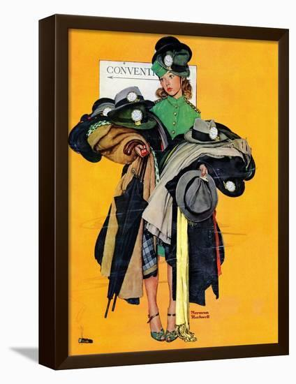 """""""Hatcheck Girl"""", May 3,1941-Norman Rockwell-Framed Stretched Canvas Print"""