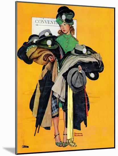 """Hatcheck Girl"", May 3,1941-Norman Rockwell-Mounted Premium Giclee Print"