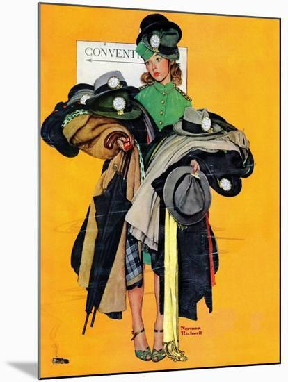 """Hatcheck Girl"", May 3,1941-Norman Rockwell-Mounted Premium Giclee Print"