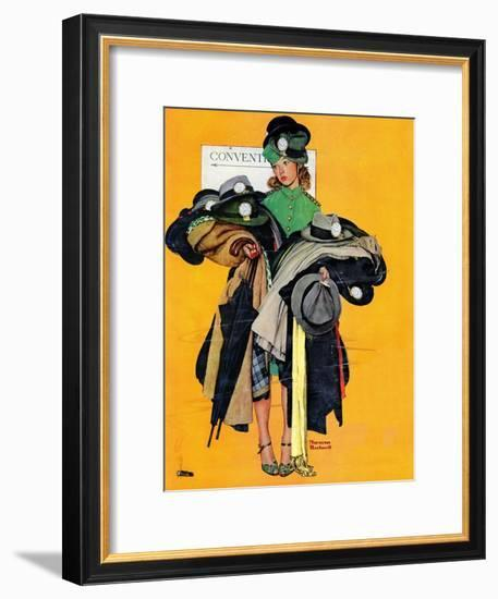 """Hatcheck Girl"", May 3,1941-Norman Rockwell-Framed Giclee Print"