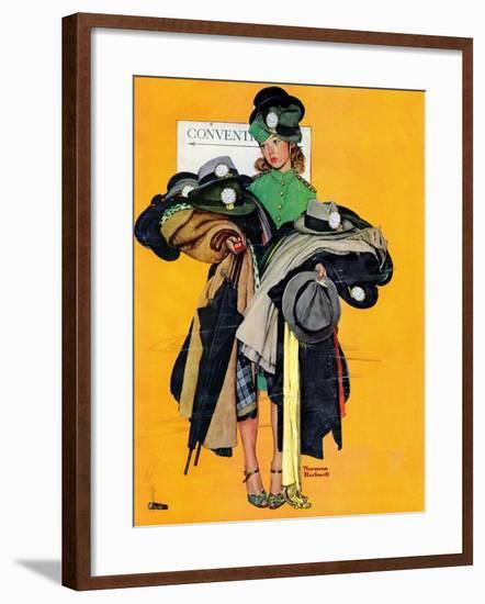 """""""Hatcheck Girl"""", May 3,1941-Norman Rockwell-Framed Giclee Print"""