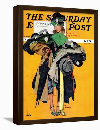 """""""Hatcheck Girl"""" Saturday Evening Post Cover, May 3,1941-Norman Rockwell-Framed Stretched Canvas Print"""