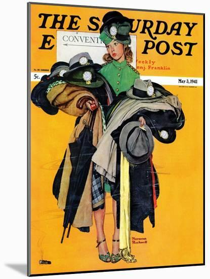 """Hatcheck Girl"" Saturday Evening Post Cover, May 3,1941-Norman Rockwell-Mounted Premium Giclee Print"