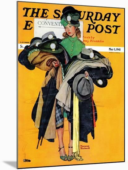 """""""Hatcheck Girl"""" Saturday Evening Post Cover, May 3,1941-Norman Rockwell-Mounted Premium Giclee Print"""