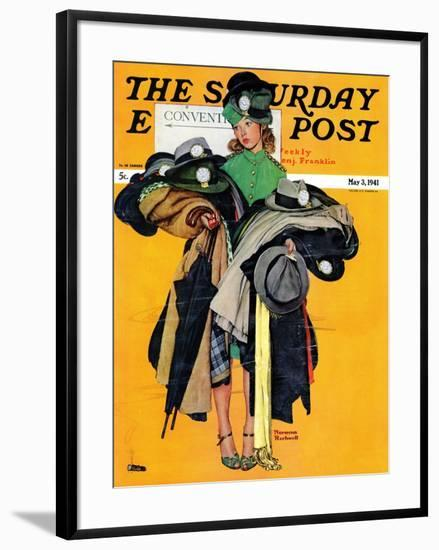 """""""Hatcheck Girl"""" Saturday Evening Post Cover, May 3,1941-Norman Rockwell-Framed Premium Giclee Print"""