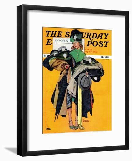 """""""Hatcheck Girl"""" Saturday Evening Post Cover, May 3,1941-Norman Rockwell-Framed Giclee Print"""