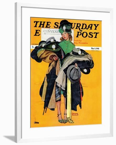 """Hatcheck Girl"" Saturday Evening Post Cover, May 3,1941-Norman Rockwell-Framed Giclee Print"