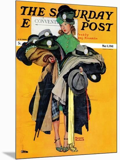 """Hatcheck Girl"" Saturday Evening Post Cover, May 3,1941-Norman Rockwell-Mounted Giclee Print"