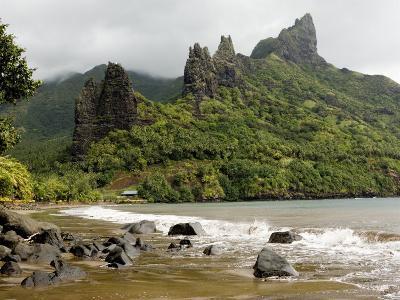 Hatiheu Bay and Surrounding Peaks, Nuku Hiva, French Polynesia-Tim Laman-Photographic Print