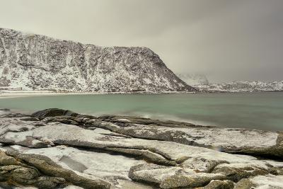 Haukland Beach in the Lofoten Islands, Norway in the Winter at Dusk-Felix Lipov-Photographic Print