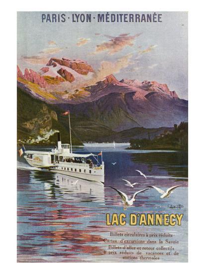 Haute-Savoie, France - Lake Annecy, Paris, Lyon, and La Mediterranee Railway, c.1920-Lantern Press-Art Print