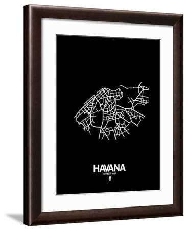 Havana Street Map Black-NaxArt-Framed Art Print