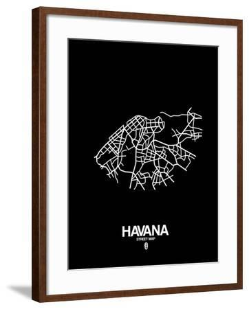 Havana Street Map Black-NaxArt-Framed Art Print