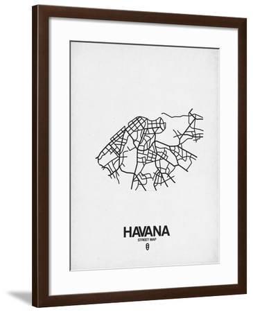 Havana Street Map White-NaxArt-Framed Art Print